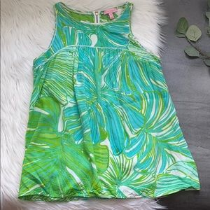 Lilly Pulitzer Green and Blue Palm Leave Top
